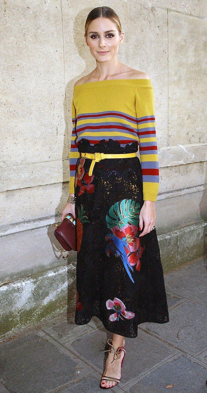 olivia-palermo-valentino-mustard-stripe-sweater-black-floral-skirt