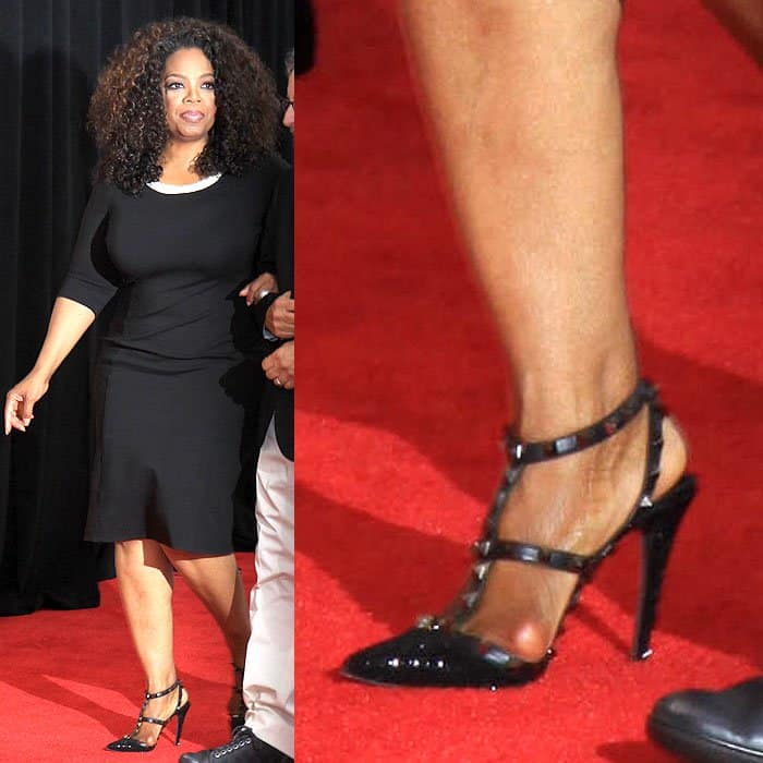 83f14860a26 Oprah Winfrey with a painful-looking bunion showing through the straps of  her Valentino