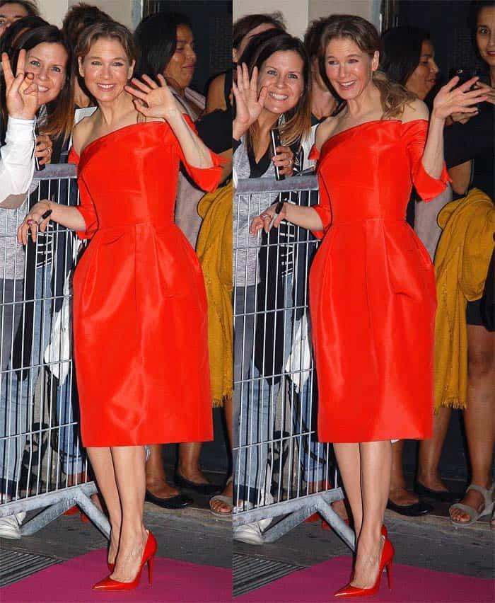 Renee Zellweger looked radiant in an off-shoulder dress
