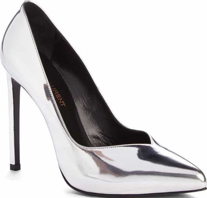 A V-cut topline and soaring, slender heel dial up the drama on a pointy-toe pump that's sure to steal the spotlight.