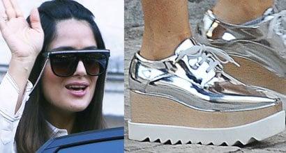 03a5c56cd7 Salma Hayek Rocks a Pair of Stella McCartney  Elyse  Wedge Sneakers