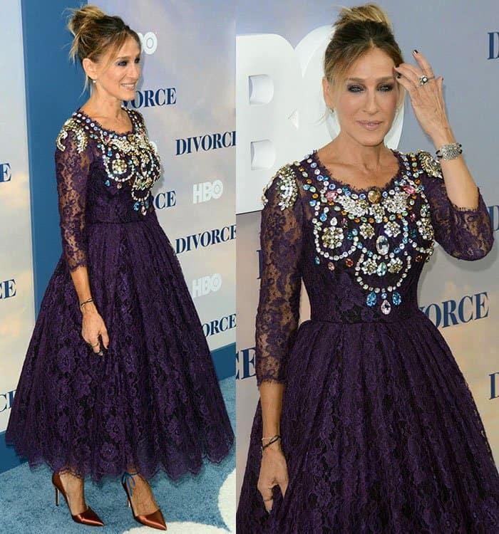 Sarah Jessica Parker in Purple Lace Dolce & Gabbana Dress