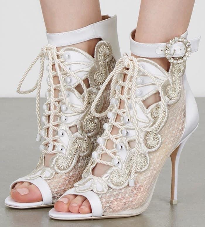 """Sophia Webster """"Selina"""" Ivory Embellished Satin Boots"""