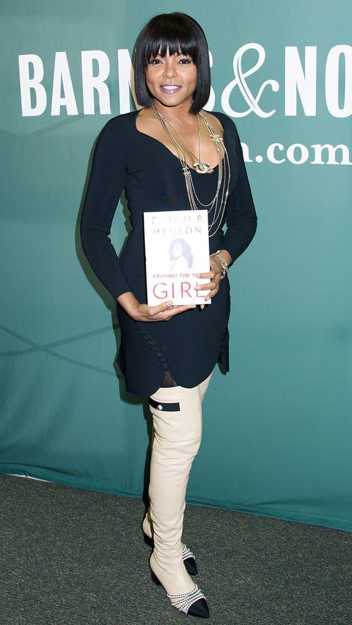 Taraji P Henson Signs Memoir In Chanel Pearl Embellished