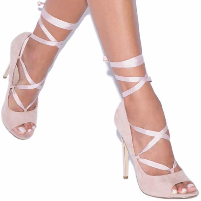 Ribbon Lace-Up Heels for Women in Black
