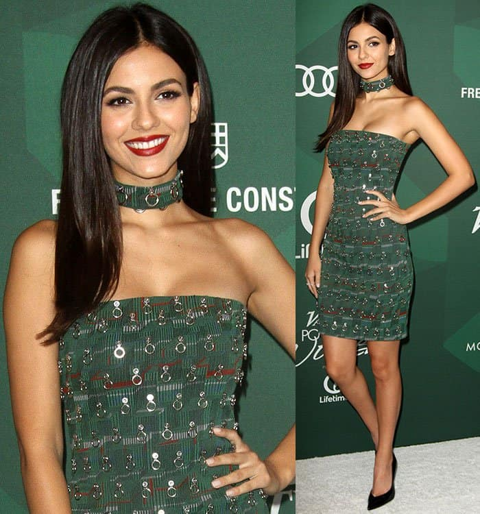 victoria-justice-bryan-hearns-green-embellished-strapless-dress