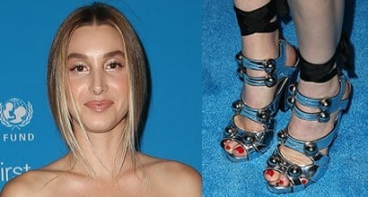 e72d43f6ca9 Whitney Port Wraps Herself in Milin Bow Ensemble and Studded Chunky Heels