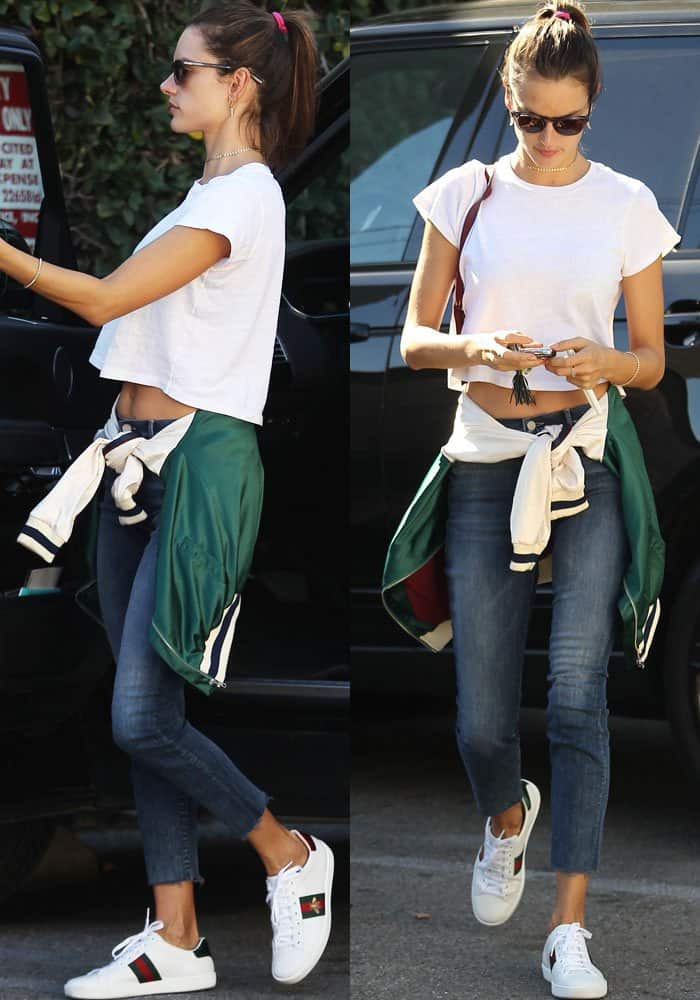 Alessandra wears a casual tee-and-jeans outfit as she ran errands in Los Angeles