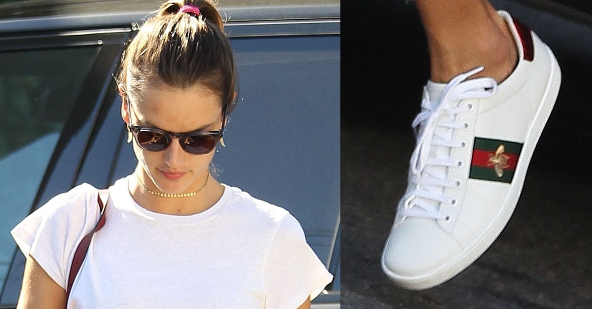 Alessandra Ambrosio In Embroidered Gucci Ace Sneakers