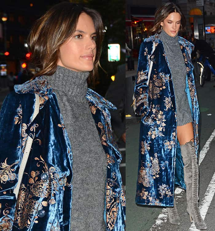 alessandra-ambrosio-gray-knit-sweater-dress-blue-coat