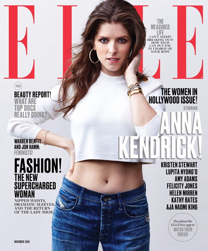Anna Kendrick reveals her belly button in Elle Magazine