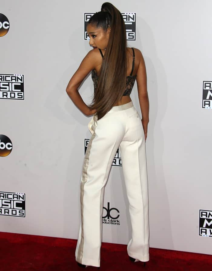Ariana Grande donned a pair of sky-high ankle boots from Ruthie Davis