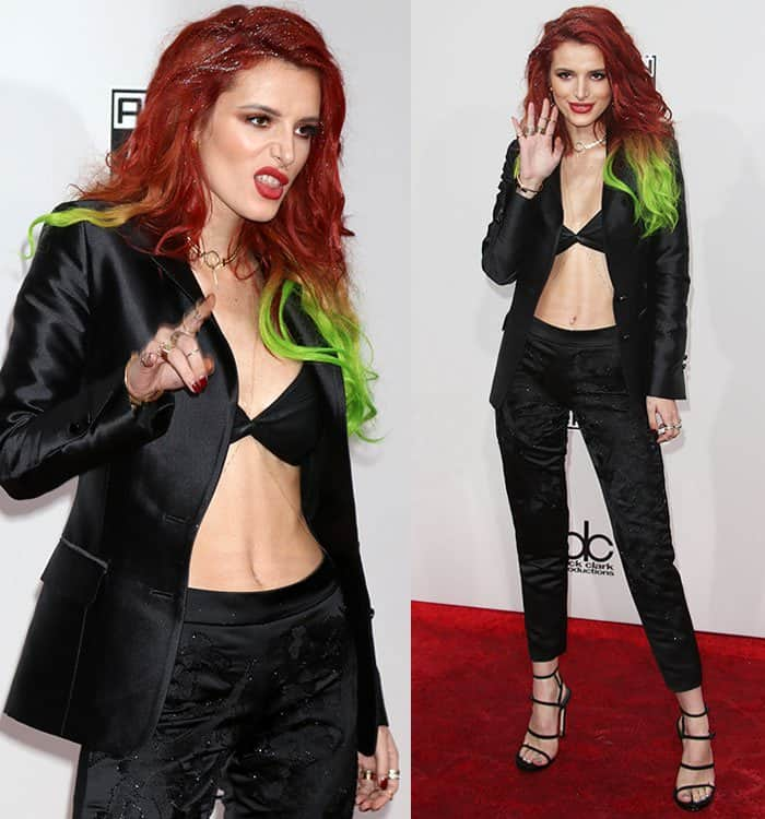 bella-thorne-leatherette-bra-blazer-pants