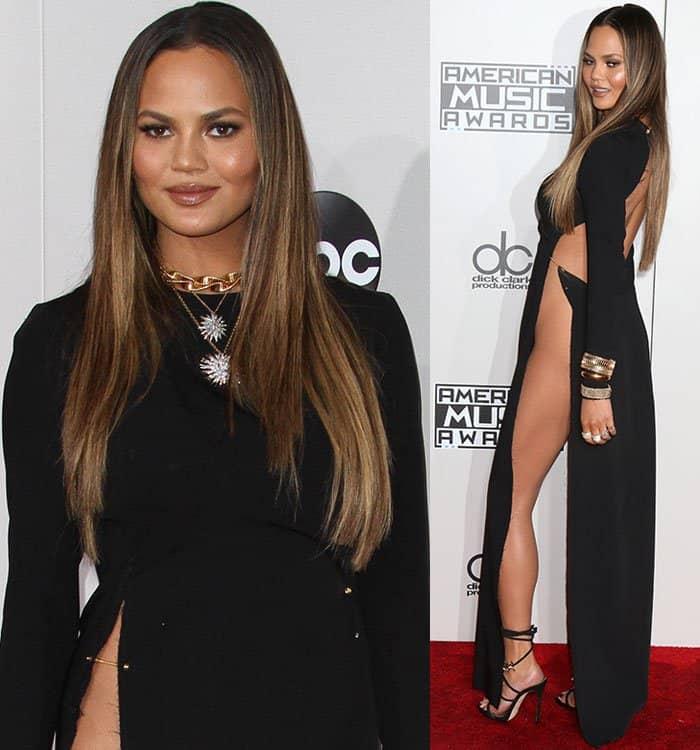 chrissy-teigen-yousef-akbar-double-waist-high-split-dress