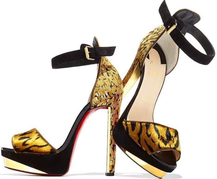 Christian Louboutin 'Tuctopen' Leather Platform Red Sole Sandals