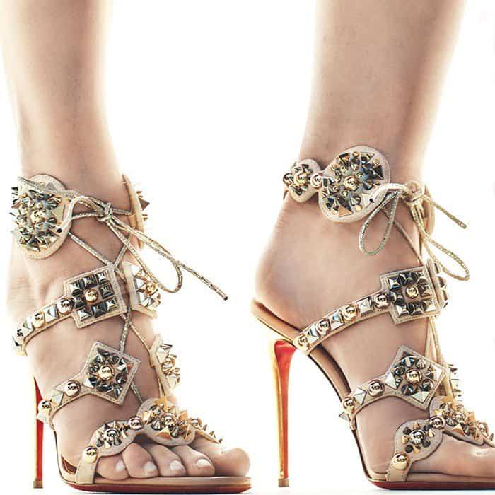 Christian Louboutin's Glittering Kaleikita Spiked Sandals