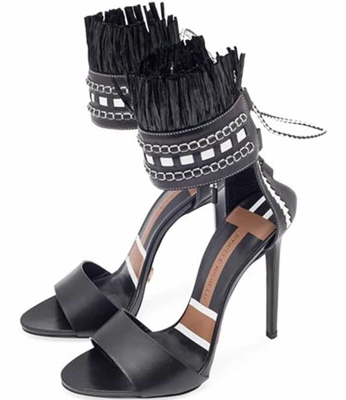 daniele-michetti-black-white-fringed-heel-sandals
