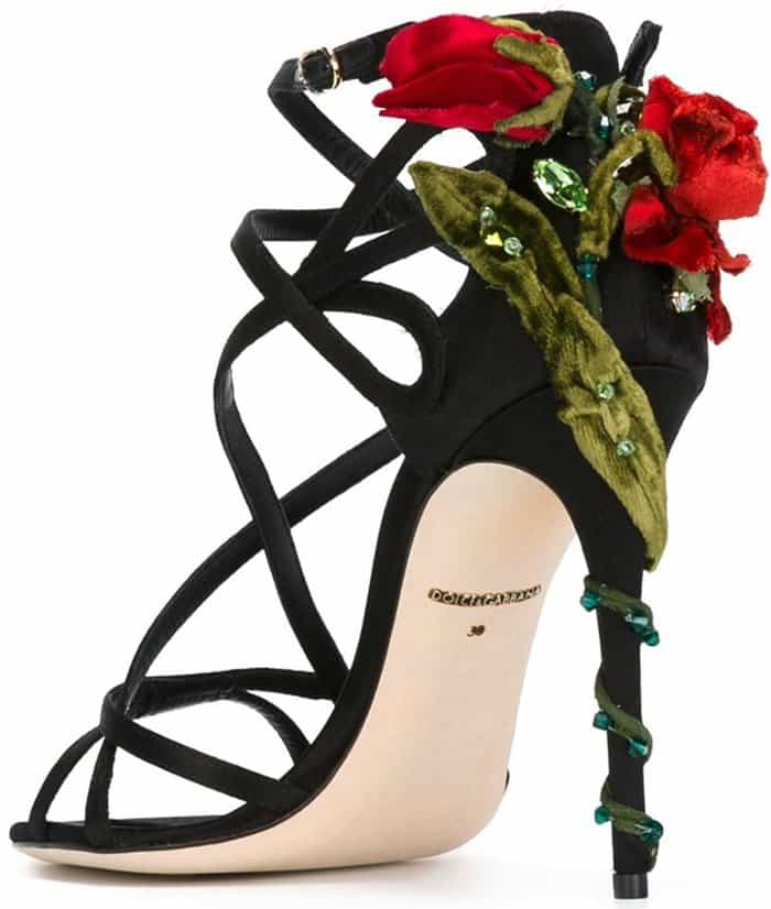Dolce & Gabbana Keira crystal-embellished red rose vine heel satin sandals