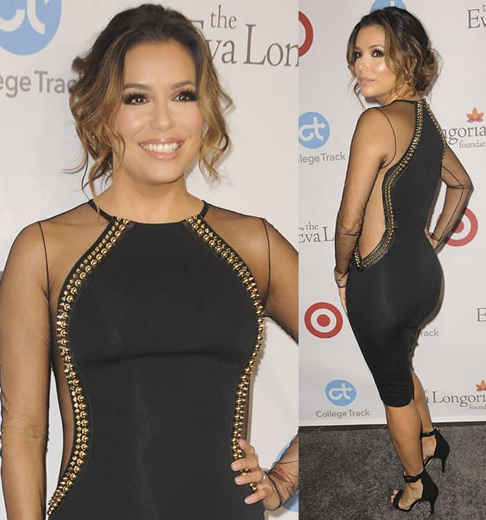 Eva Longoria flaunted her toned legs in a figure-hugging black dress by Philipp Plein