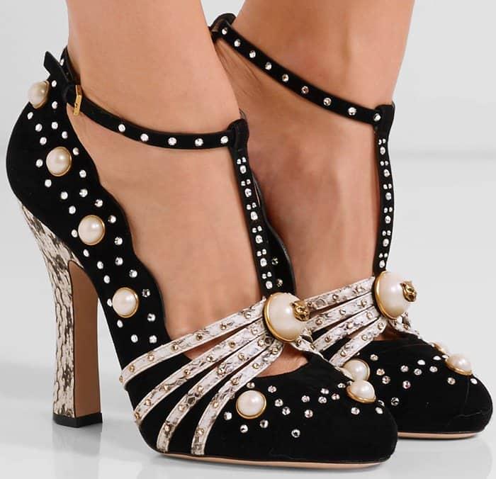 gucci-embellished-elaphe-trimmed-suede-pumps