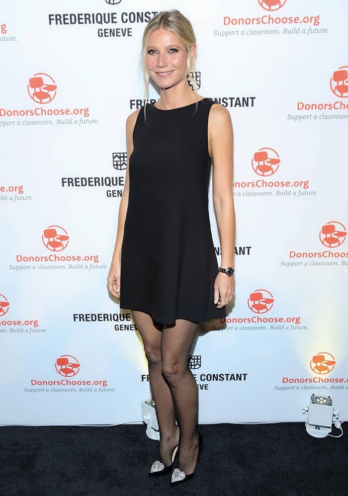 Gwyneth Paltrowpaired the classic frock with fishnets and black pumps