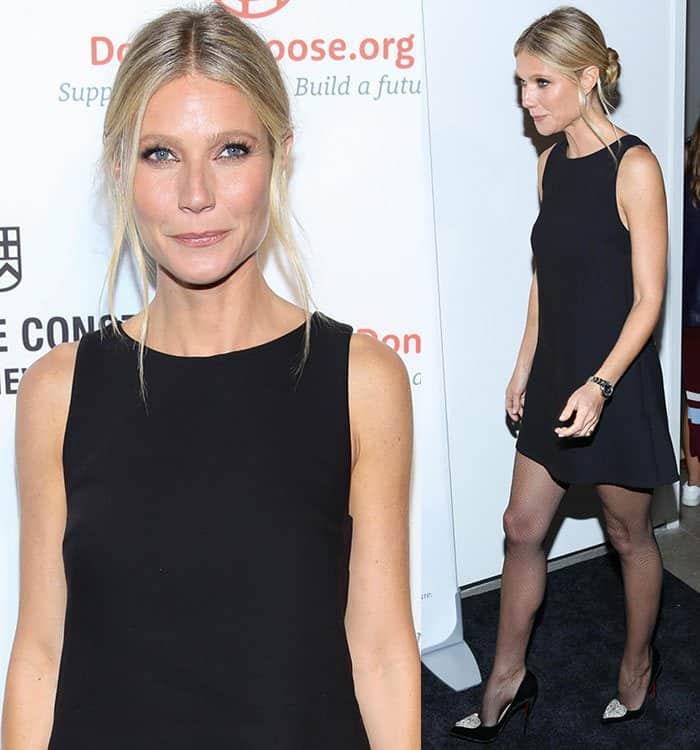 Gwyneth Paltrow flaunts her toned legs ina sleeveless LBD