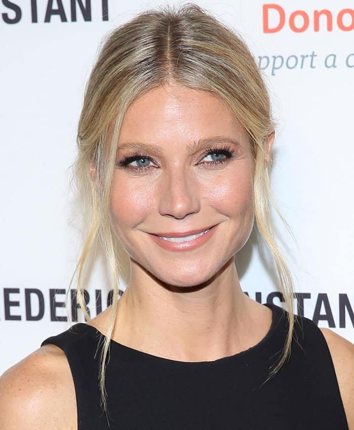 Gwyneth Paltrowpulled her blonde hair back into a low bun
