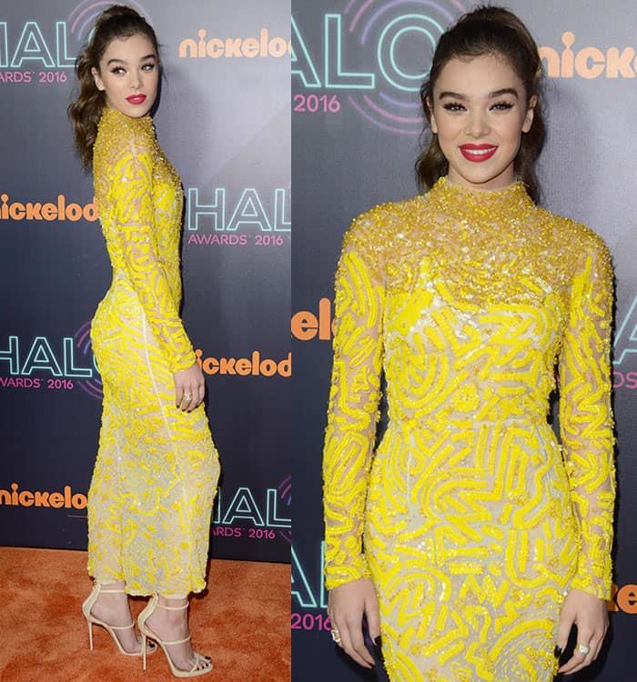 hailee-steinfeld-j-mendel-sheer-yellow-sequined-beaded-dress