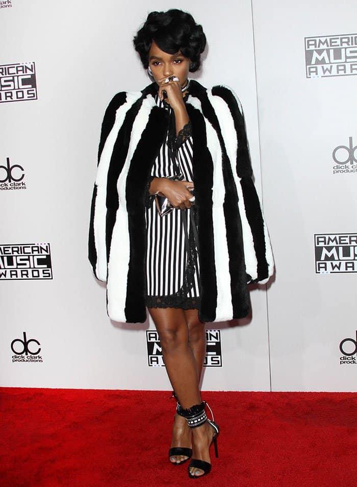 janelle-monae-black-white-stripe-coat-dress