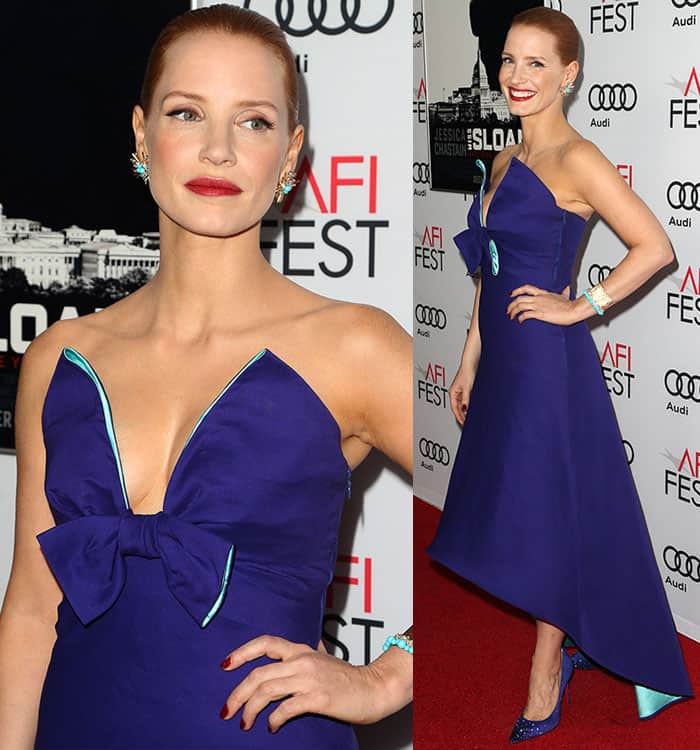 Jessica Chastain posed up a storm on the red carpet in a blue-purple Prada dress