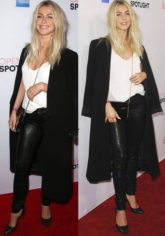 Julianne Hough keeps it casual in a J Brand top and leather pants