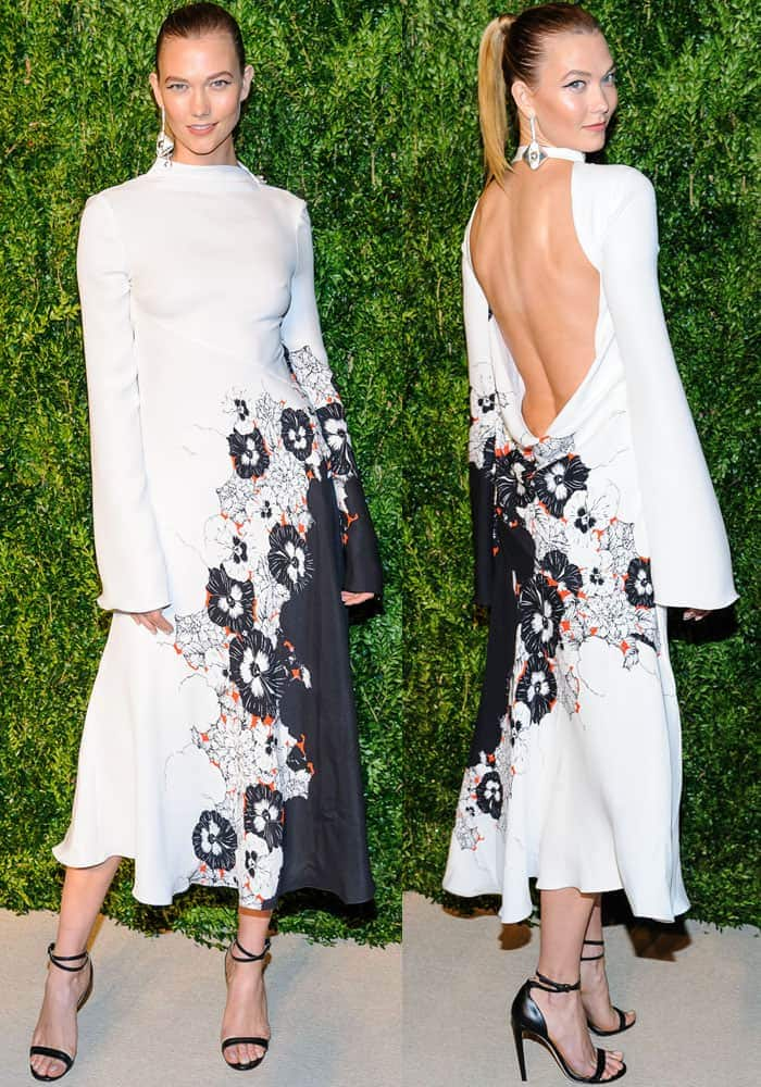 Karlie flaunting her legs in a unique Prabal Gurung low back dress
