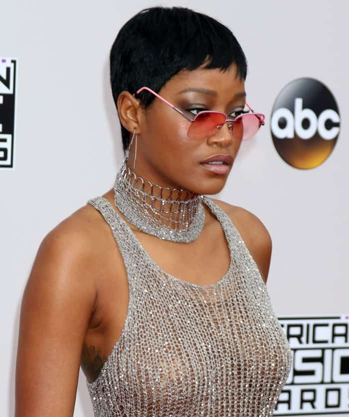 Keke Palmer did not leave much to the imagination in a see-through crop top and matching mini-skirt from Natalia Fedner
