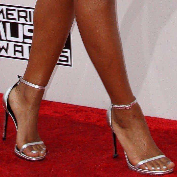 Keke Palmer wearing Saint Laurent ankle-strap sandals