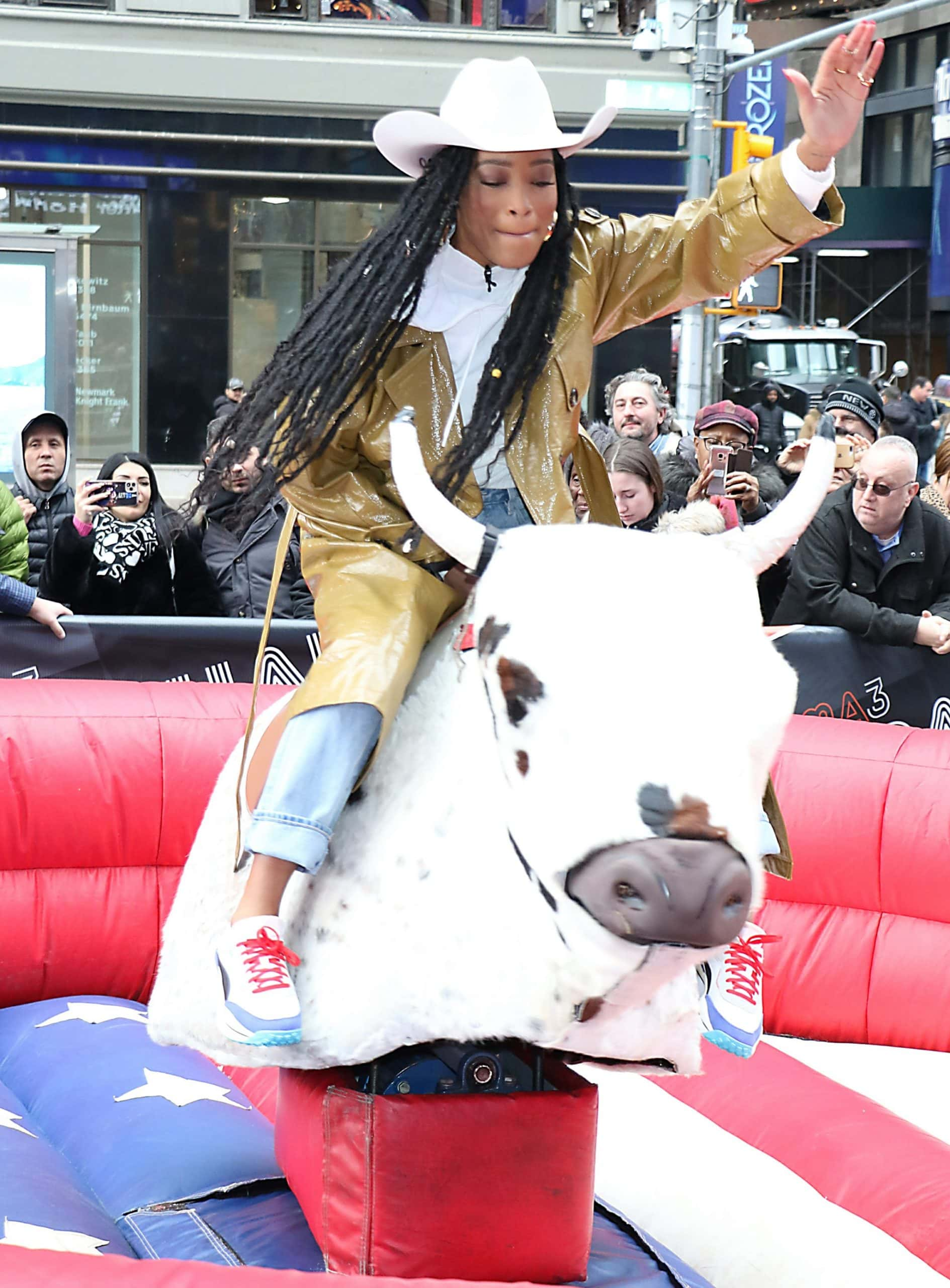 Keke Palmer rocks a western chic look as she rides a mechanical bull for Good Morning America