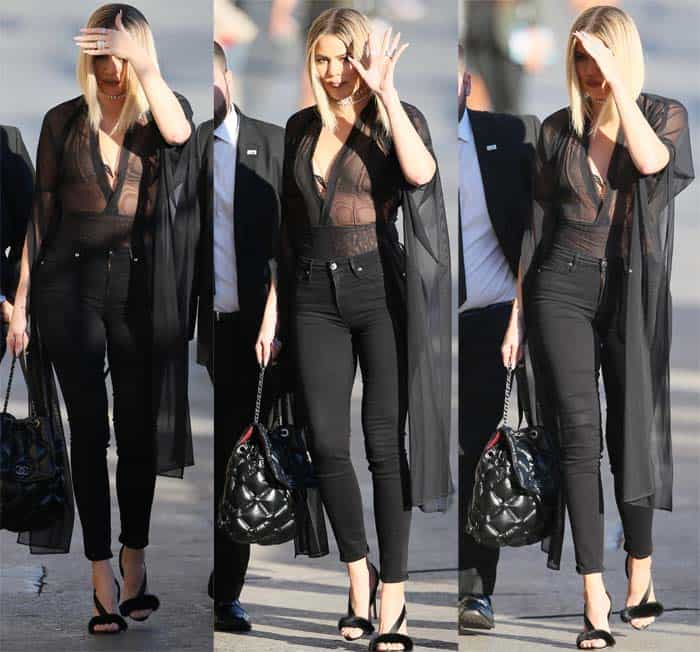 Khloe Kardashian waved to fans while arriving for her television appearance