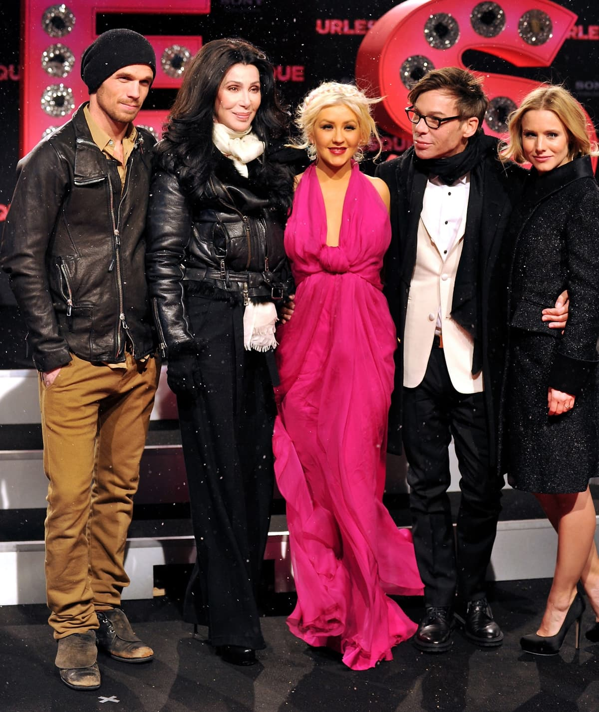Actor Cam Gigandet, actress Cher, actress Christina Aguilera, director Steven Antin and actress Kristen Bell attend the 'Burlesque' Germany premiere