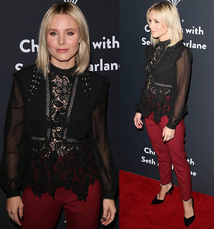 Kristen Bell rocked a Self-Portrait top and pants