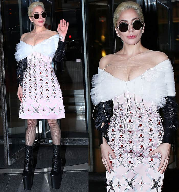 lady-gaga-cleavage-legs-embellished-dress-fishnets-boots