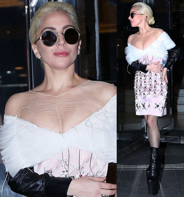 lady-gaga-off-shoulder-mesh-embellished-dress