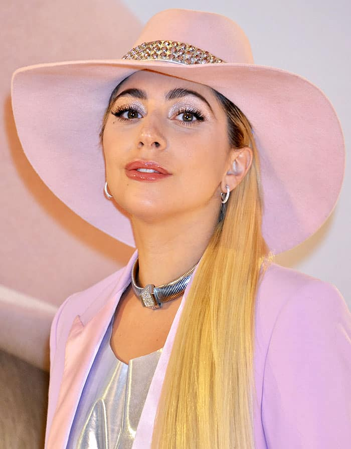 Lady Gaga rocks a pink hat with a silver studded band