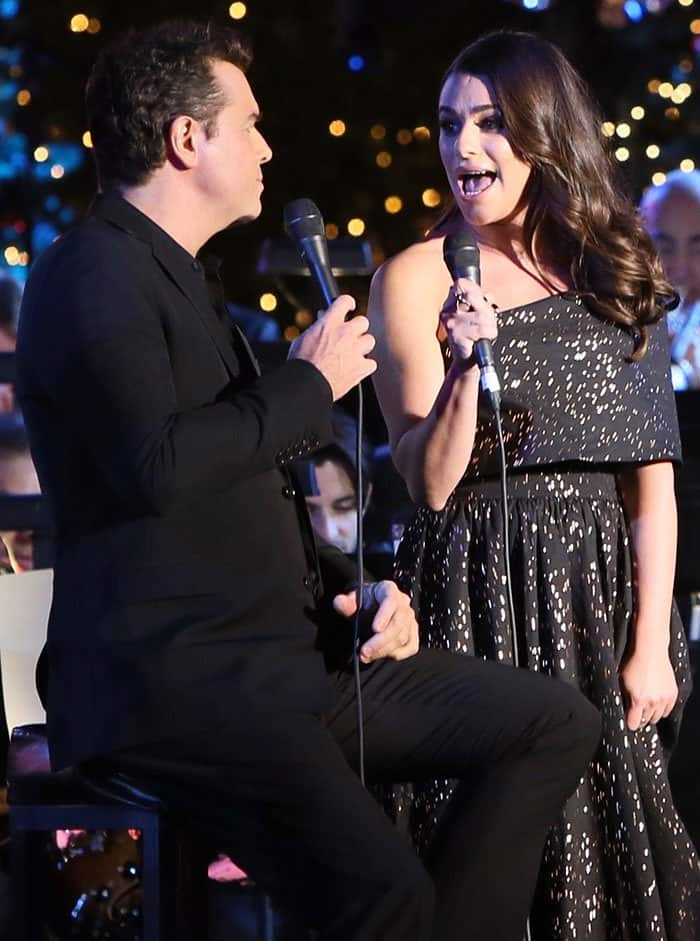 Lea Michele at The Grove Christmas with Seth MacFarlane presented by Citi in Los Angeles on November 13, 2016