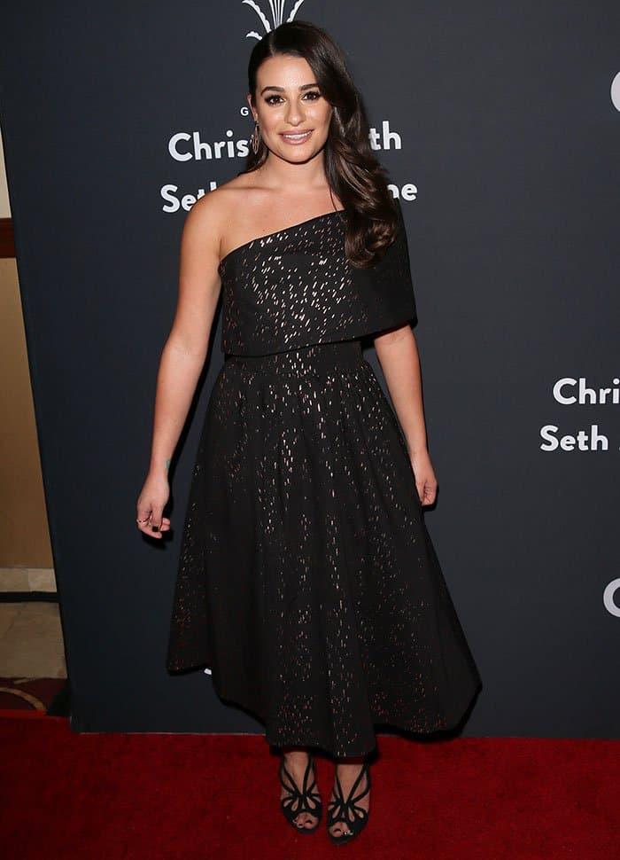 Lea Michele in Lela Rose Resort 2017 dress