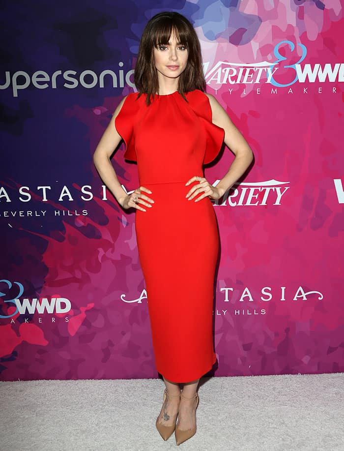 Lily Collins in a stunning red dress by New Delhi-based brand Gauri and Nainika