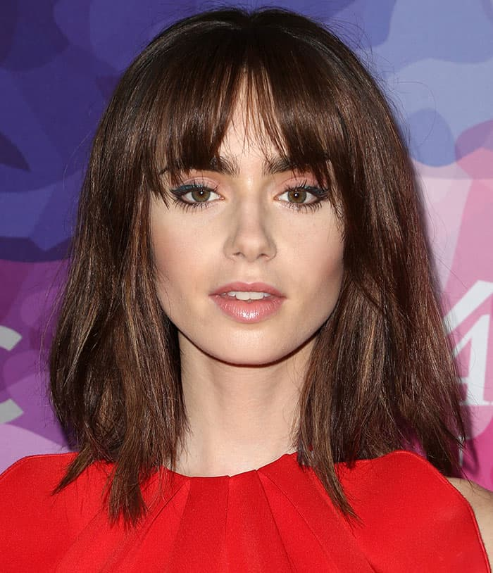 Lily Collinsdebuted her choppy bob complete with bangs