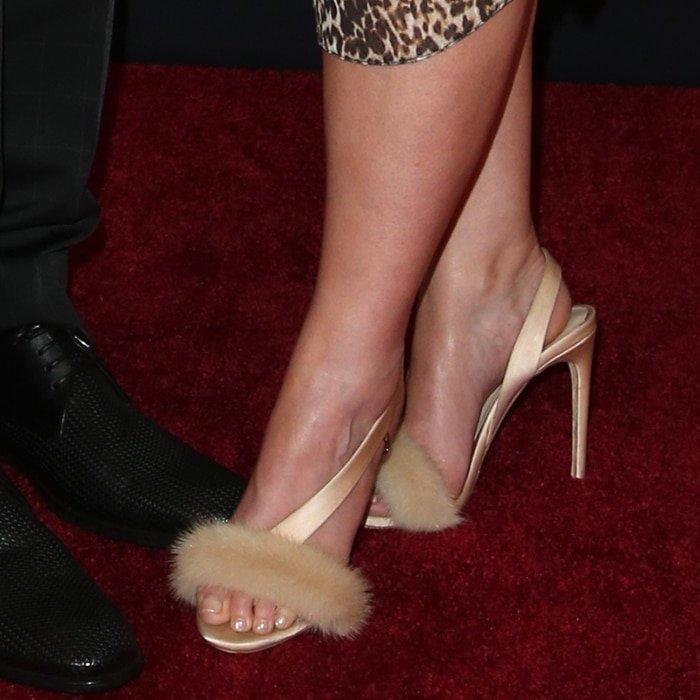 Meghan Trainor's hot feet in Olgana Paris 'L'Amazone' mink fur sandals