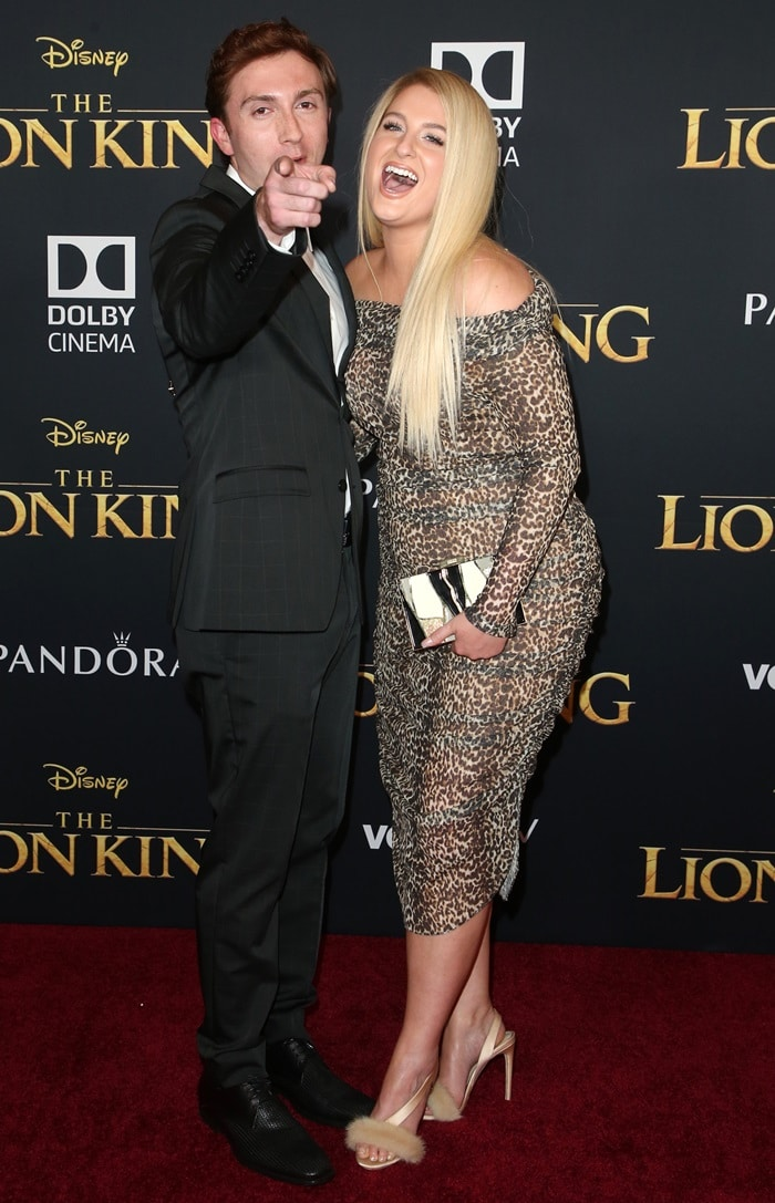 Daryl Sabara with his wife Meghan Trainor at the premiere of The Lion King
