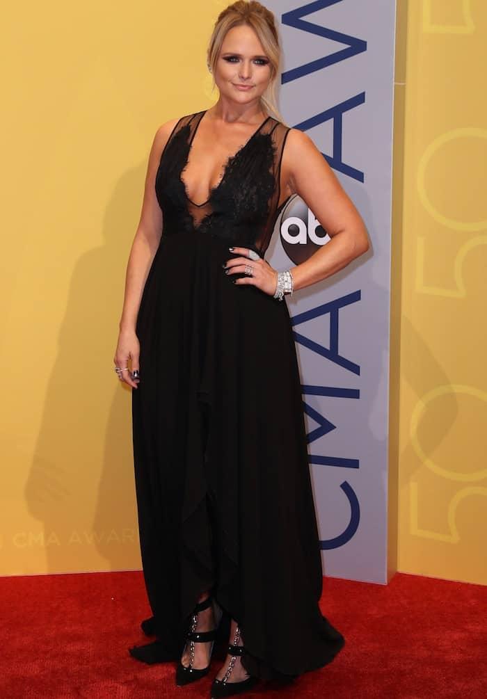 Miranda Lambert in a long black dress at the Country Music Association Awards
