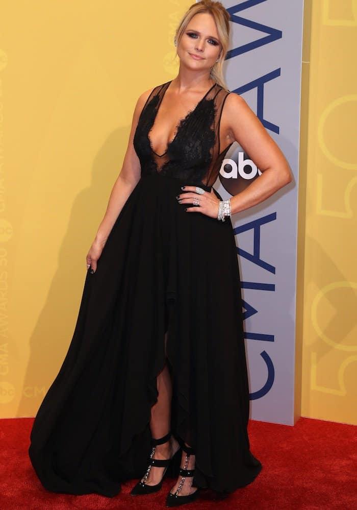 Miranda Lambert opted to wear a sexy black Georges Hobeika dress