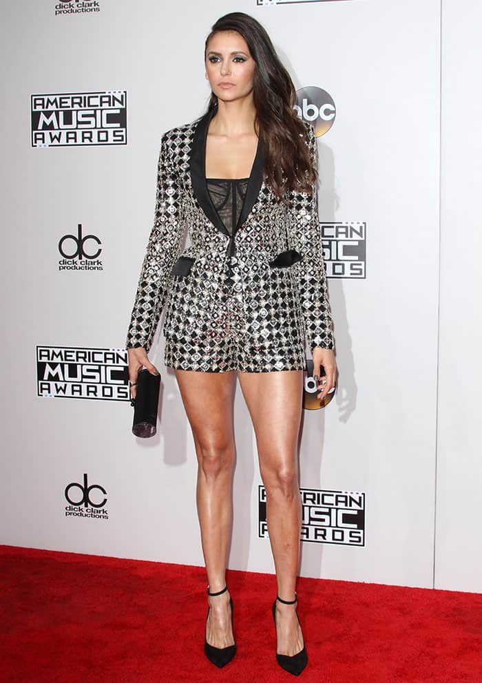 nina-dobrev-legs-cleavage-lace-corset-crystal-short-suit
